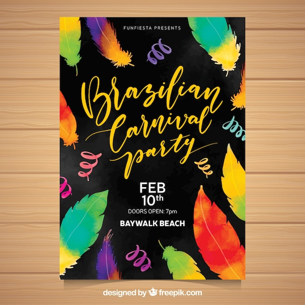 carnival poster template with watercolor feathers vector free download