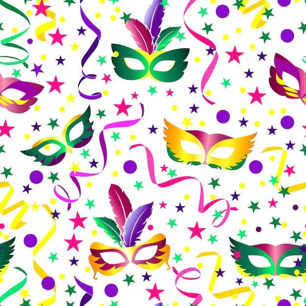 Карнавал бесшовный фон со звездами, маской и лентами Бесплатные векторы