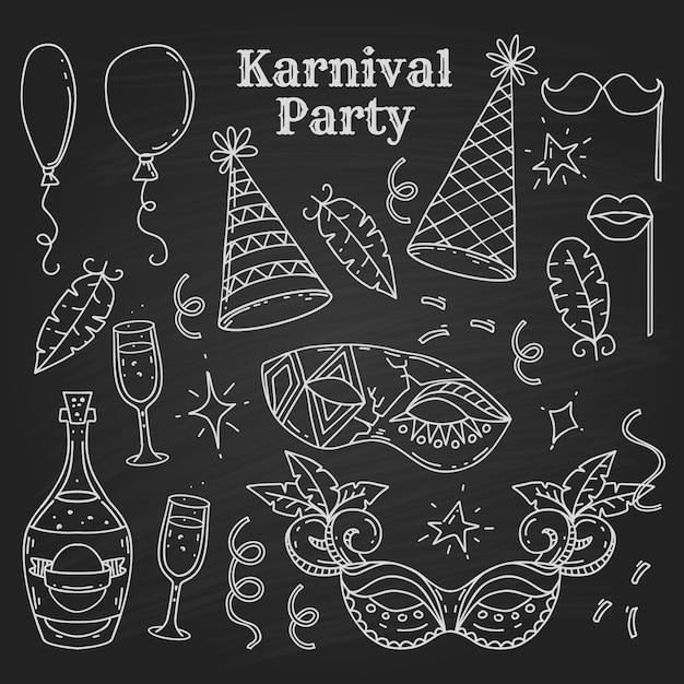 Карнавальные символы в стиле каракули на черном фоне, элементы карнавальной вечеринки Premium векторы