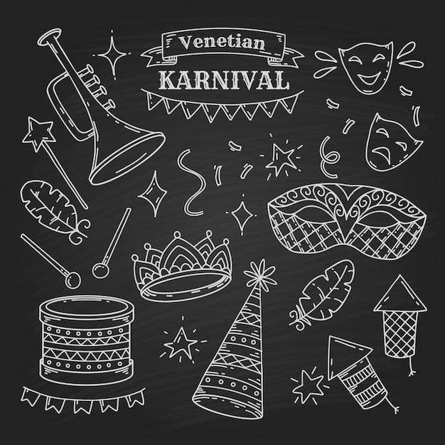 Карнавальные символы в стиле каракули на черном фоне, элементы венецианского карнавала Premium векторы