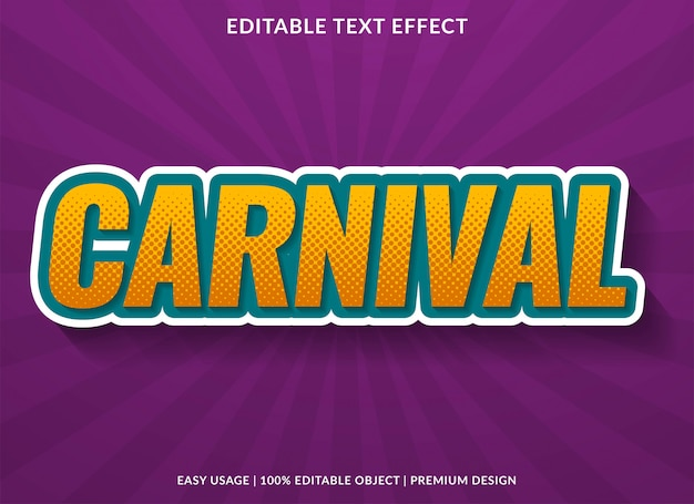 Carnival text effect with retro style Premium Vector