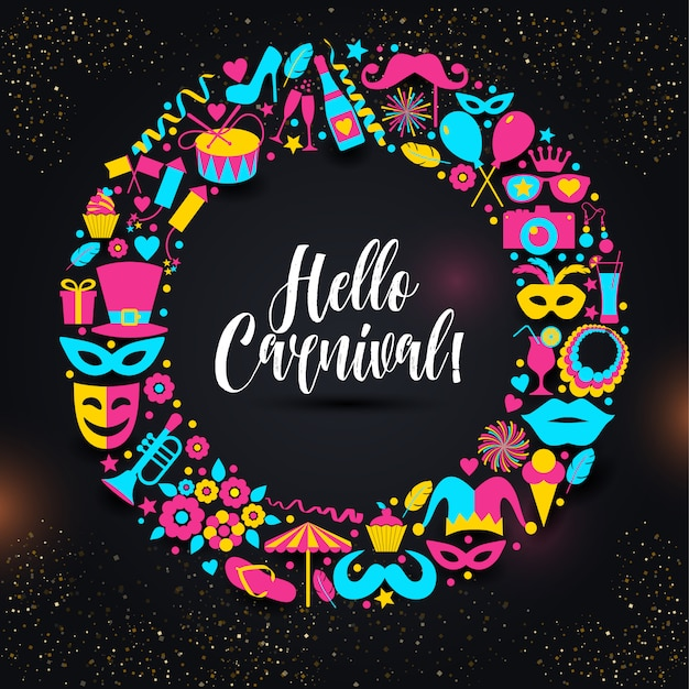 Carnival vector illustration in color wteath. Premium Vector