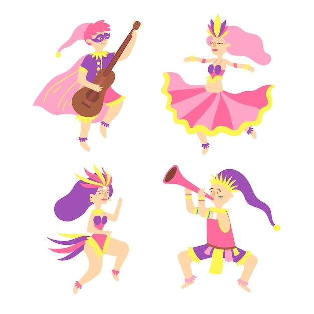 Giovani ballerini di carnevale in costumi fantasy Vettore gratuito