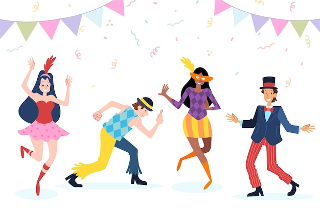 Carnevale giovani ballerini in costumi divertenti Vettore gratuito