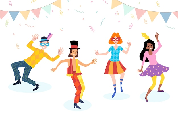 Carnival young dancers with confetti and garland Free Vector