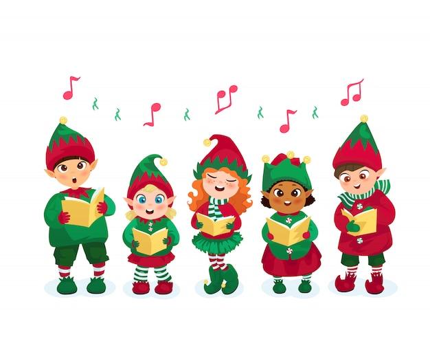 Caroling kids set Free Vector