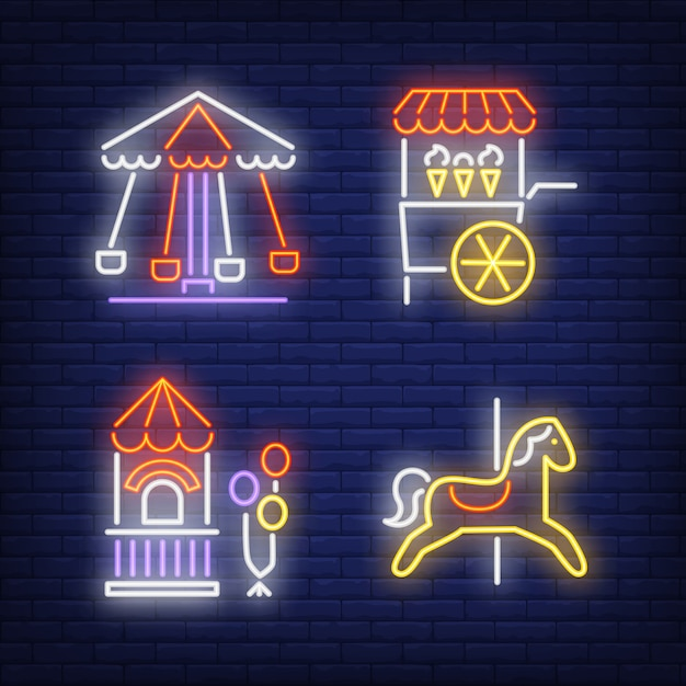 Carousel horse, ice-cream cart and ticket booth neon signs set Free Vector