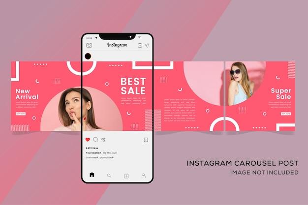 소셜 미디어 패션 판매 프리미엄을위한 회전 목마 Instagram 배너 템플릿 프리미엄 벡터