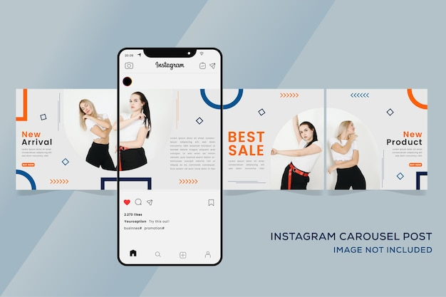 패션 판매 다채로운 프리미엄에 대 한 회전 목마 Instagram 템플릿 배너 프리미엄 벡터