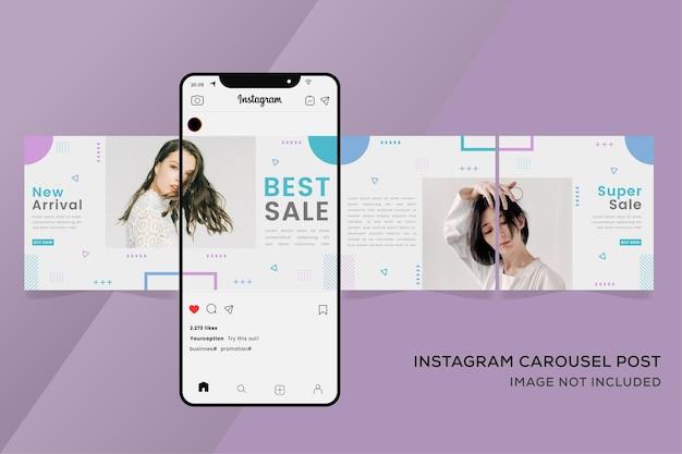 다채로운 패션 판매를위한 회전 목마 Instagram 템플릿 배너 프리미엄 벡터