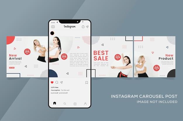 다채로운 패션 판매를위한 회전 목마 Instagram 템플릿 프리미엄 벡터