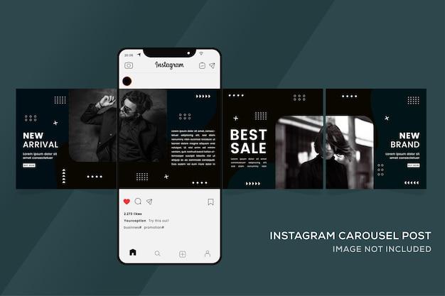 ソーシャルメディアinstagramプレミアムのカルーセルテンプレート Premiumベクター