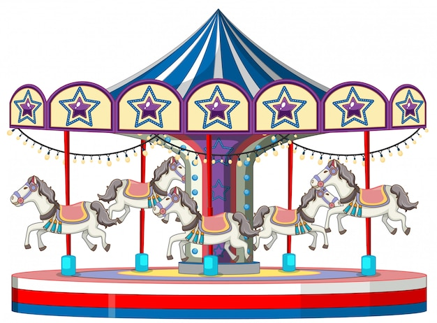Carousel with white horse on white Free Vector