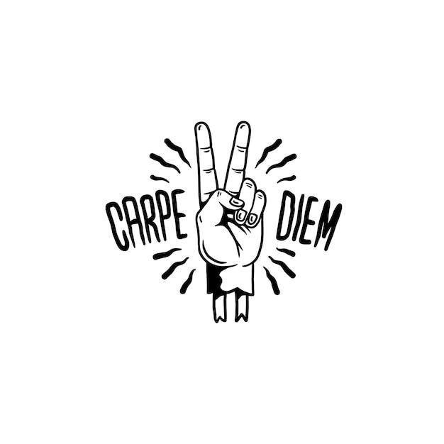 Carpe diem motivational illustration vector Free Vector