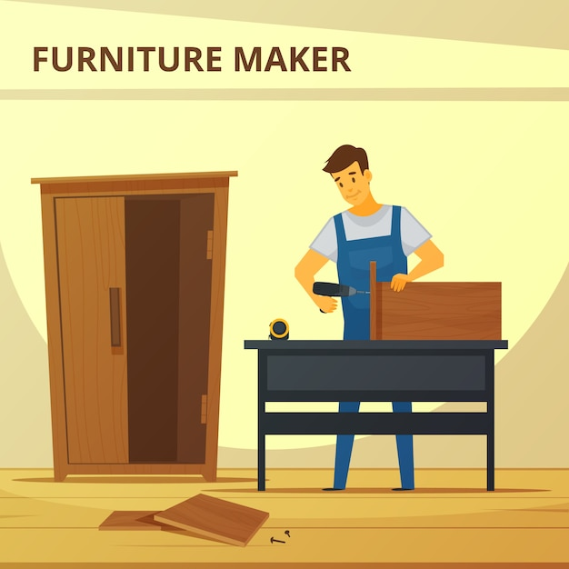 Carpenter assembling furniture flat poster with young professional Free Vector