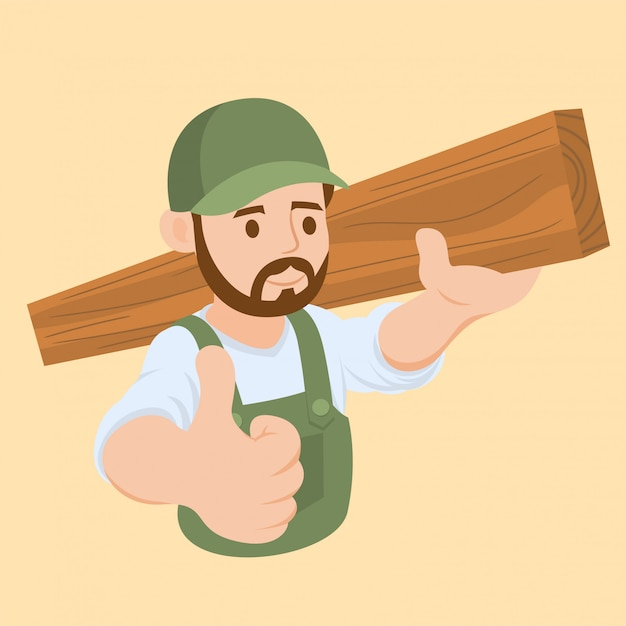 Carpenter carrying a wooden Premium Vector