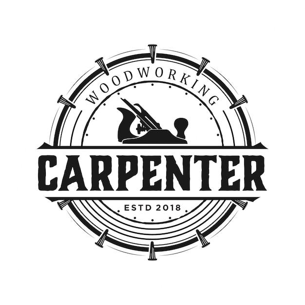Carpenter logo vintage Premium Vector