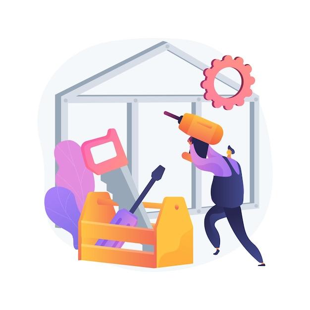 大工サービス抽象的な概念図。建物のメンテナンスと家の改修、家具の修理、木製の仕切り、カスタムキャビネット、窓枠、木工品 無料ベクター
