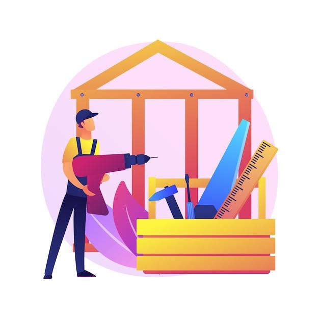 Illustrazione di concetto astratto di servizi di falegname. manutenzione di edifici e ristrutturazione di case, riparazione di mobili, tramezzi in legno, armadi su misura, infissi, lavori in legno Vettore gratuito
