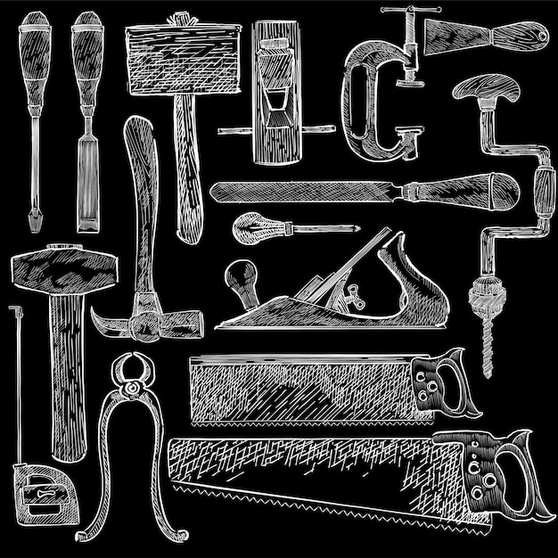 Carpenter set Free Vector