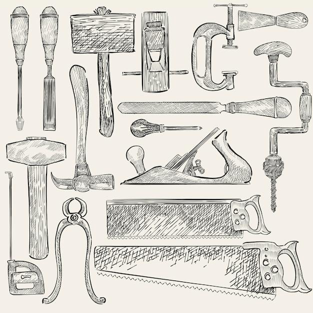 Carpenter set Free Vector