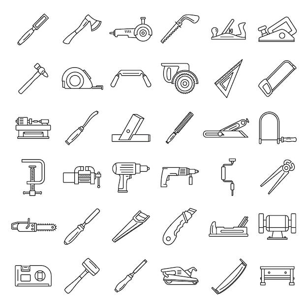 Carpenter working icon set Premium Vector