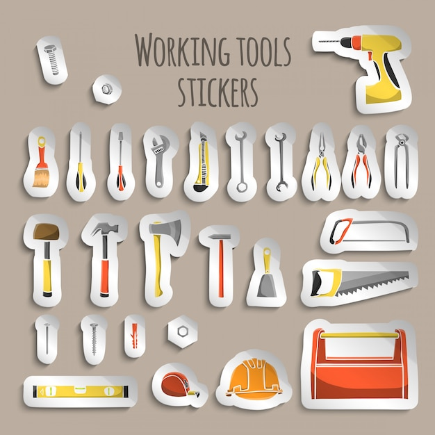 Carpenter working tools stickers Free Vector