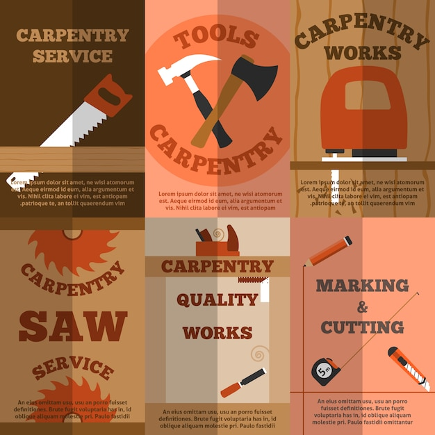 Carpentry 6 flat banners poster Free Vector