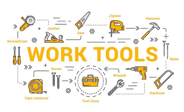Столярный и деревообрабатывающий инструмент, набор инструментов diy Premium векторы