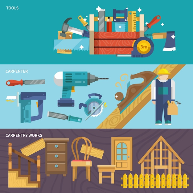 Carpentry banners set Free Vector