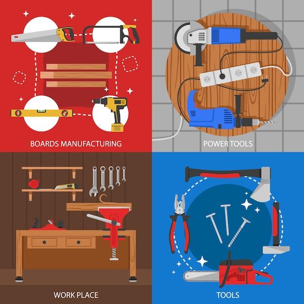 Плотницкие цветные композиции с изготовлением щитов электроинструментов на рабочем месте инструменты изолированные Бесплатные векторы