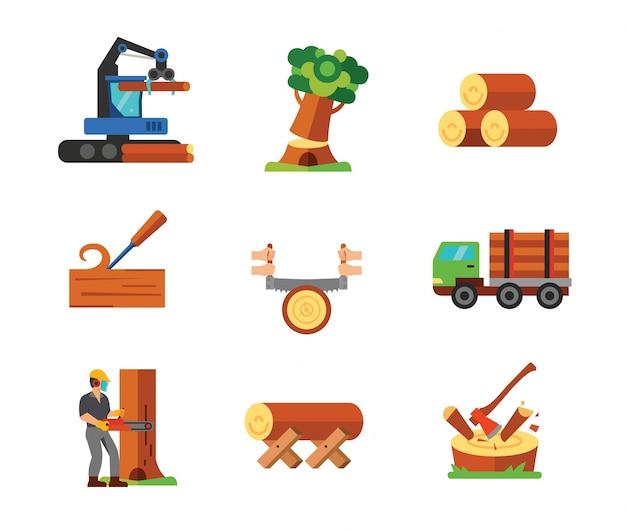 Collezione di icone di carpenteria Vettore gratuito