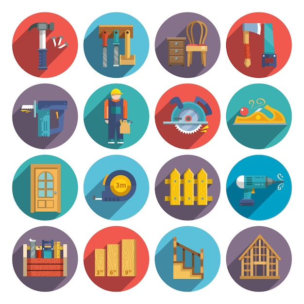 Carpentry icons flat Free Vector