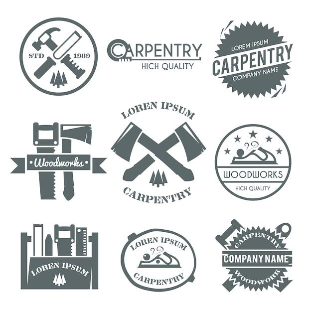 Set di etichette di carpenteria Vettore gratuito
