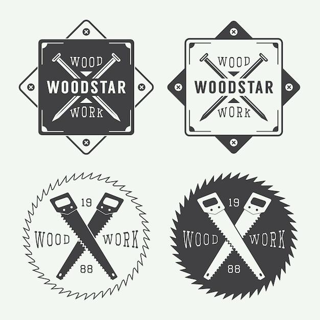 Carpentry labels Premium Vector