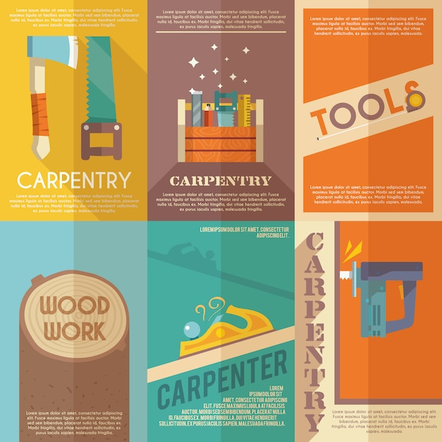Carpentry poster set Free Vector