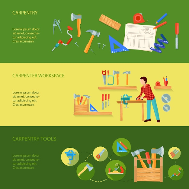 Carpentry tools workspace and activity example concept three horizontal banners vector illustration Free Vector