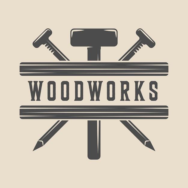 Carpentry woodwork emblem Premium Vector