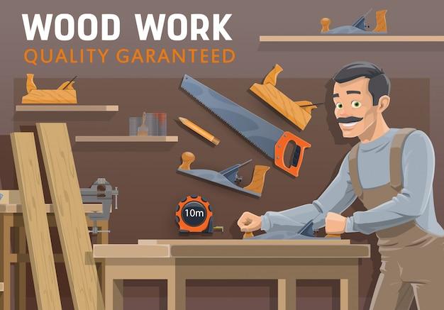 大工、木工業界。ツールを持つ大工 Premiumベクター