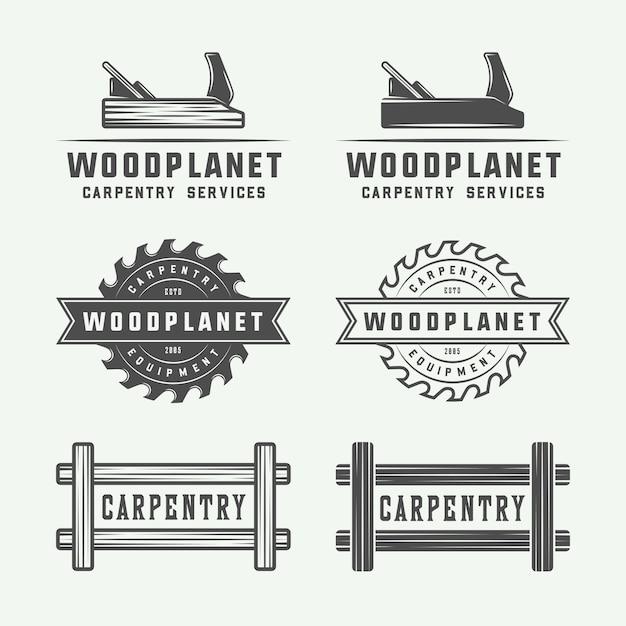 Carpentry, woodwork logos Premium Vector