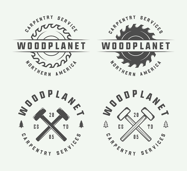 Carpentry, woodwork and mechanic emblems Premium Vector