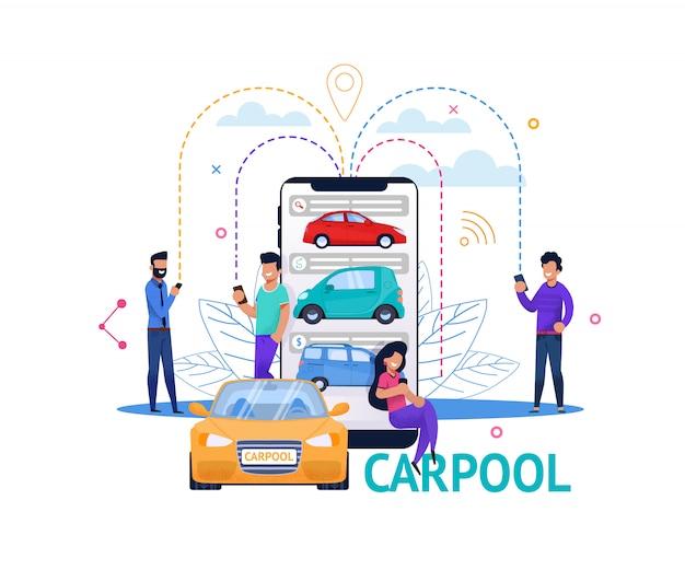 Carpool app мобильный поиск плоские люди иллюстрация Premium векторы