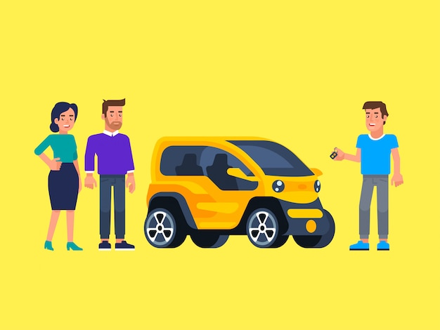 Carpool and car sharing. happy people in front of the car. Premium Vector