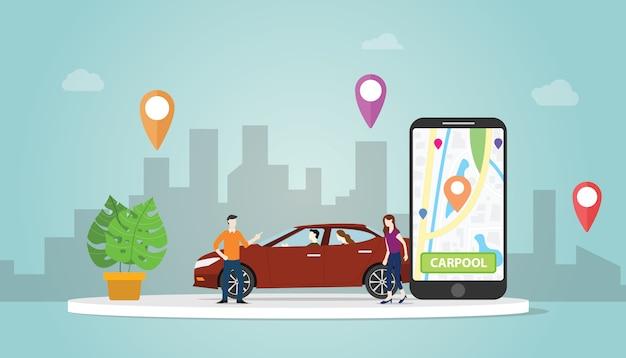 Технология совместного использования автомобилей carpool для людей в городских условиях использует gps-трек Premium векторы
