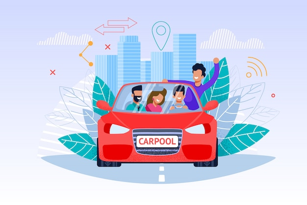 Carpool service and weekend journey and young man  and woman people character in red car Premium Vector