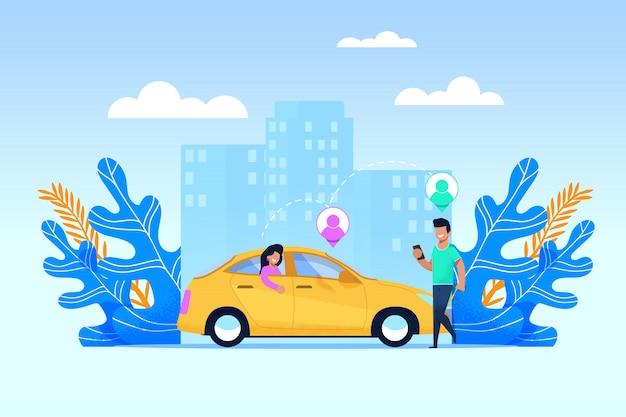 Carpool transport service и совместное использование транспорта с современным мобильным приложением Premium векторы