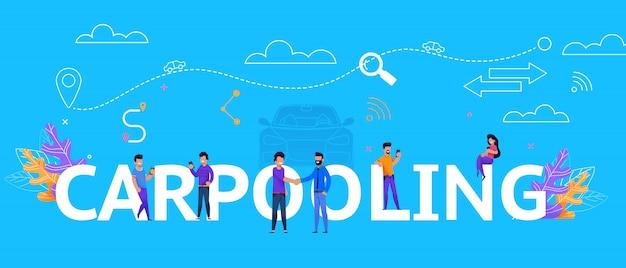 Carpooling illustration concept trip collaboration Premium Vector