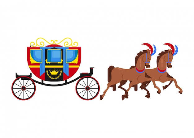 Carriage coach vector vintage transport with old wheels and antique transportation Premium Vector