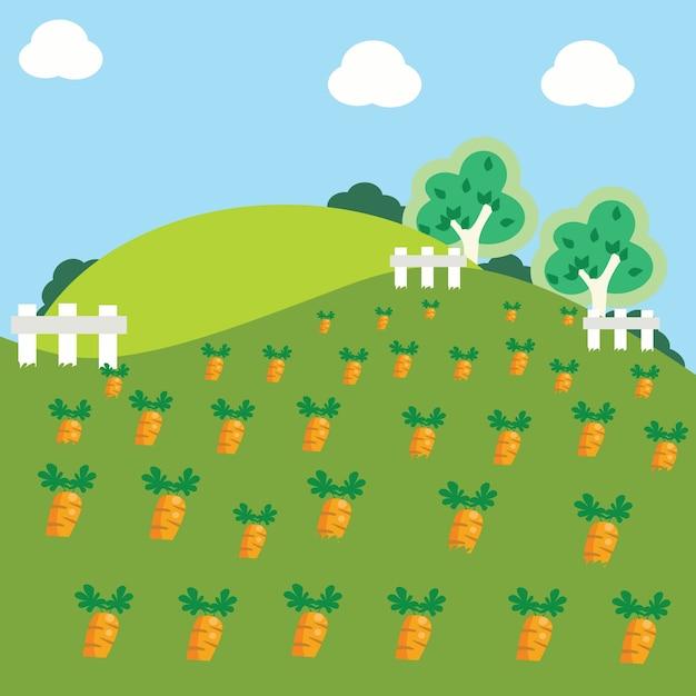 Carrot garden cartoon illustration Vector