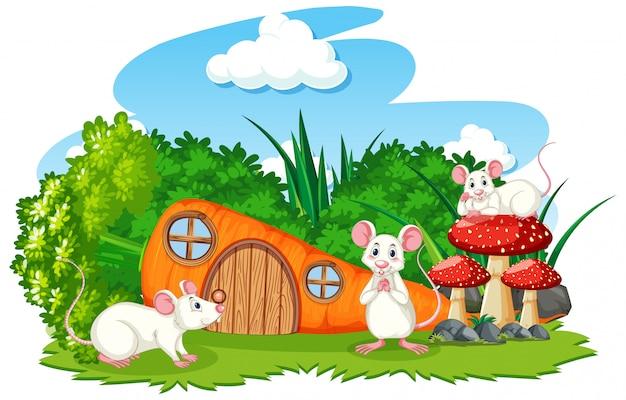 Морковный домик с тремя мышками мультяшном стиле на белом фоне Premium векторы